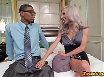 Tattooed trans babe gagging on black cock