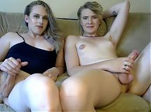 Sexy amateur transgender couple on live show