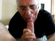 Grandpa sucking cock