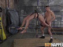 Bound Michael Wyatt is roughly throat fucked by Dmitry Osten