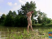 Fit guy Elijah Knight jacking off outdoors near a lake