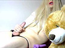 Horny Teen Crosdressing Shemale Anna Rabbit with Dildo